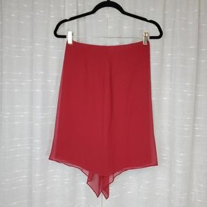 VINTAGE Red Silk A Line Ruffle Skirt